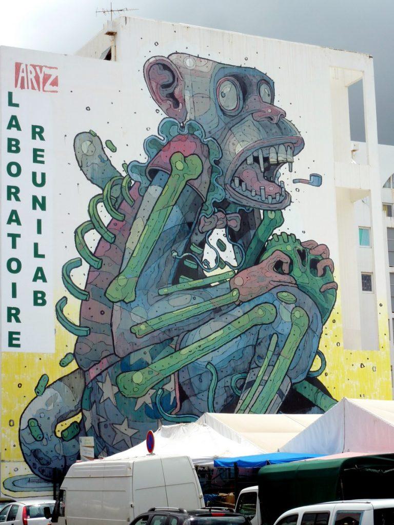 """ARYZ """"Monkey business"""" - bd de l'Océan / rue du Maréchal Leclerc (Petit Marché)"""