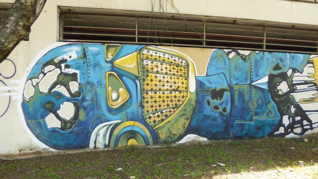 PIXEL PANCHO - San Juan Puerto Rico - Mur extérieur du Museo de arte de Puerto Rico, calle Marginal